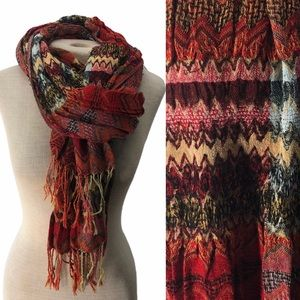 Colorful Fringed Scarf